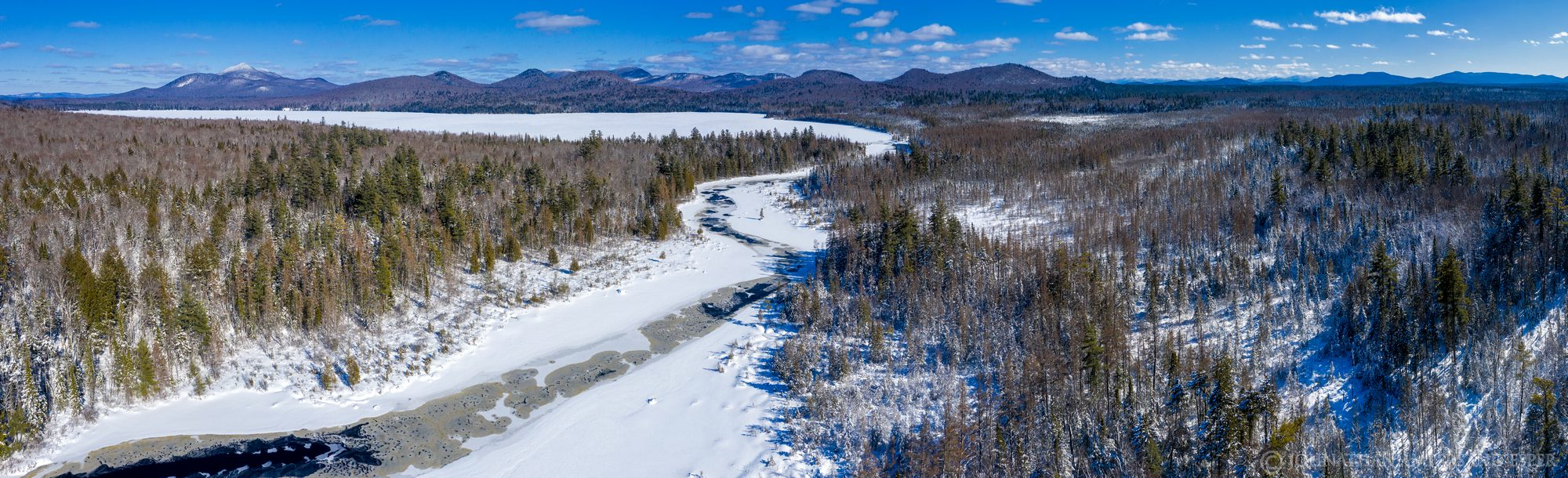 Meacham Lake,Meacham Lake outlet,outlet,channel,March,2020,winter,late winter,sunny,drone,panorama, photo