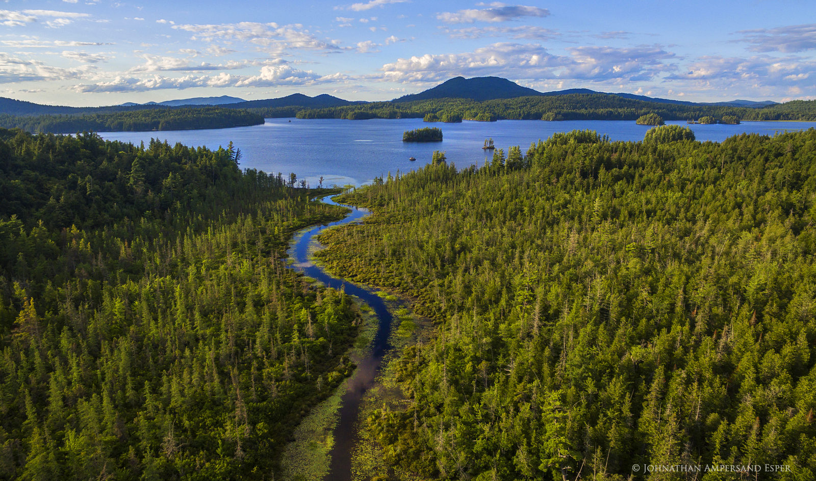 Middle Saranac Lake,drone,aerial,island,summer,sunset,summer sunset,Saranac Lakes,Adirondack Park,lake,waters,inlet,Middle Saranac Lake inlet,canoe put-in,put-in,Saranac Lake,, photo