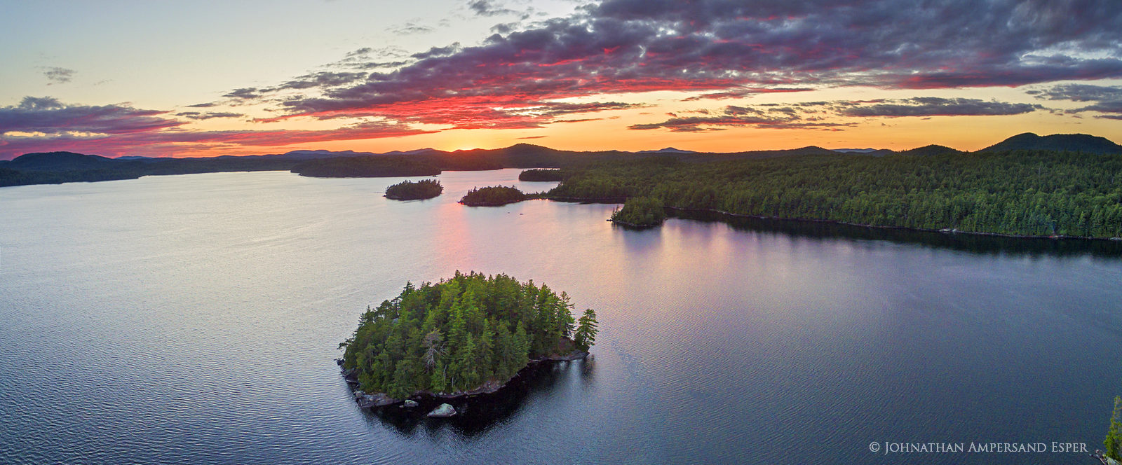 Middle Saranac Lake,drone,aerial,island,summer,sunset,summer sunset,Saranac Lakes,Adirondack Park,lake,waters,Saranac Lake, photo
