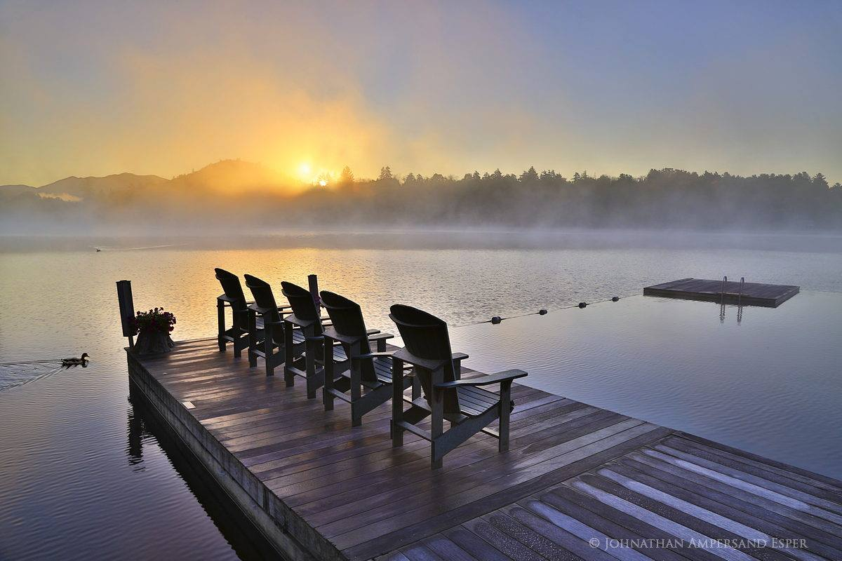 Mirror Lake,Adirondack Chairs,duck,fog,foggy sunrise,sunrise,Mirror Lake sunrise,Mirror Lake dock,, photo