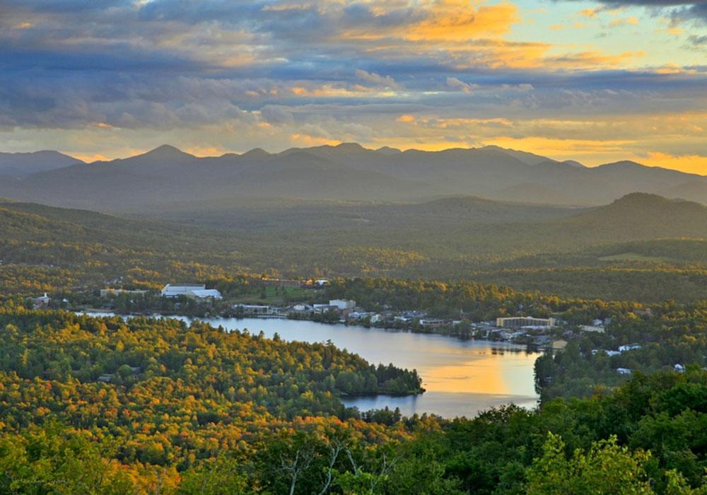 Whitney Mt,Whitney Mountain,Whitney Mt.,Lake Placid village,Lake Placid,Mirror Lake,treetop,Adirondacks,town,towns,summer,High Peaks,Adirondacks,Johnathan Esper, photo