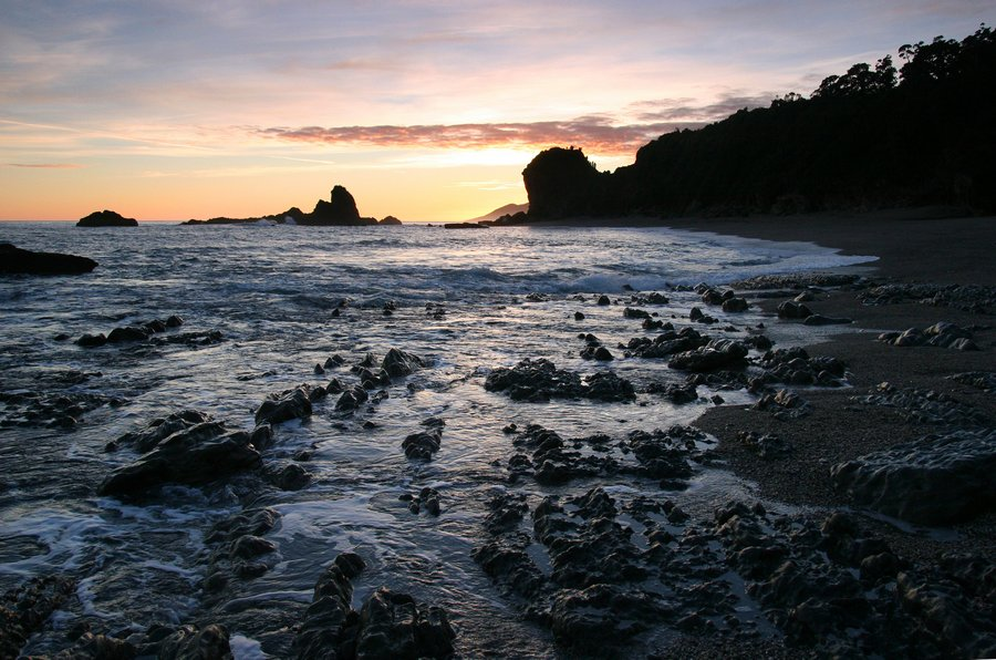 Monroe Beach, West Coast, beach, beaches, New Zealand, sunset, rocks, photo