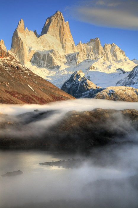 Laguna Capri, Monte Fitz Roy, Fitz Roy, sunrise, vertical, above, photo