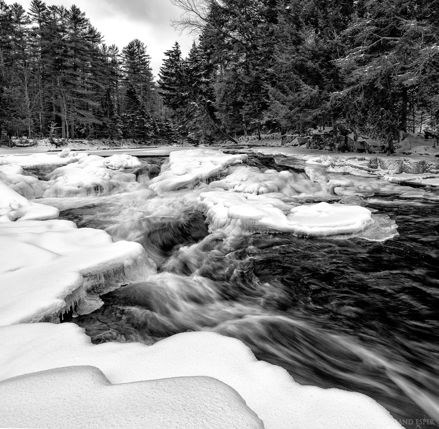 Monument Falls,Ausable River,black and white,waterfalls,waterfall,Adirondack waterfalls,