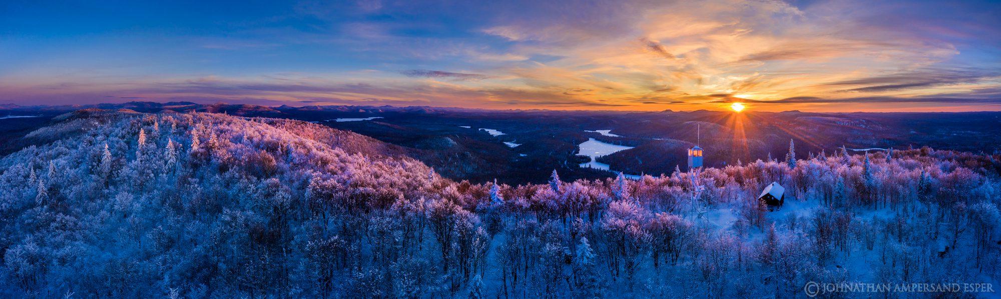 Mt. Arab,Mt Arab,Mt Arab firetower,Mt. Arab firetower,firetower,Firetower,Tupper Lake,winter,drone,2021,panorama,alpenglow,sunset...