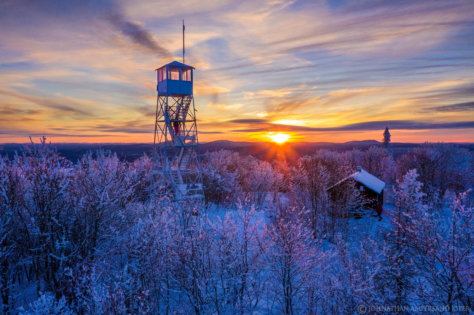 Mt. Arab,Mt Arab,Mt Arab firetower,Mt. Arab firetower,firetower,Firetower,Tupper Lake,winter,drone,2021,alpenglow,sunset