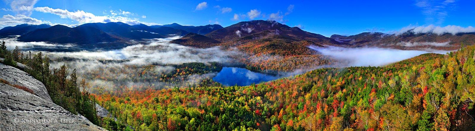 Mt Jo,Mt. Jo,Heart Lake,fall,valley,fog,2011,High Peaks,Adirondack,mountains,panorama,Heart Lake, Mt Jo secret cliffs,autumn,Adirondack High Peaks, photo