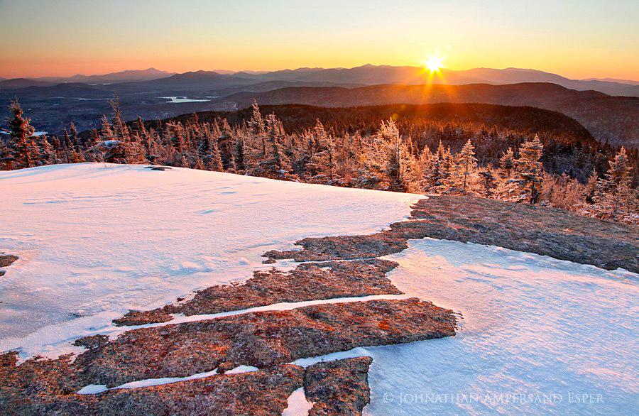 Mt. Morris,Mt Morris,summit,winter,rock,patterns,mirroring,High Peaks,layers,Tupper Lake,Seward Range,High Peaks,mountains,Adirondack,striations,bedrock,sun, photo