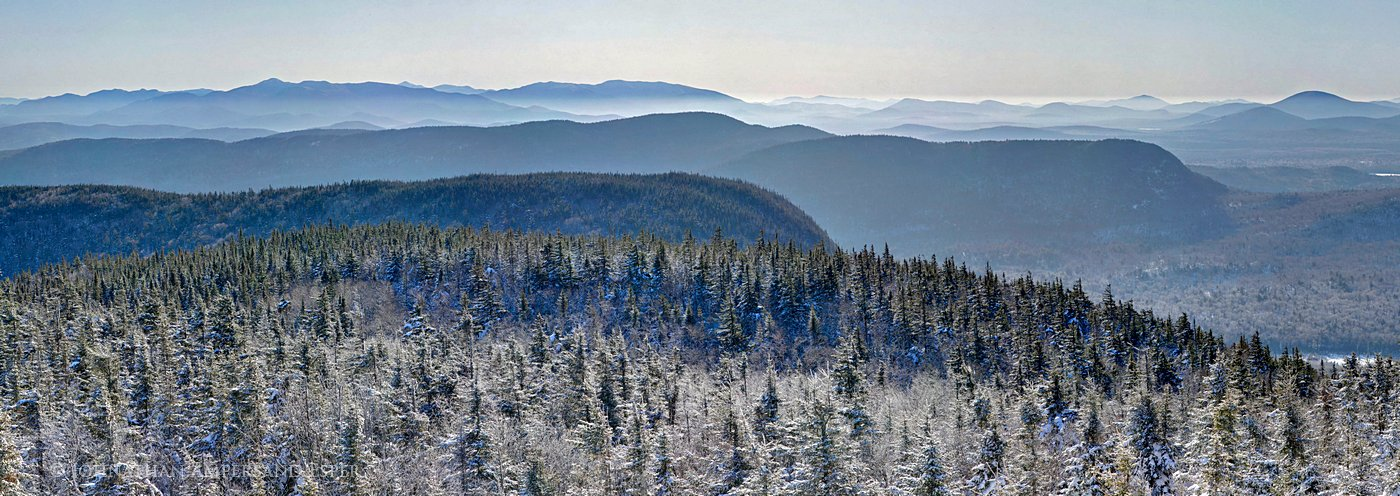 Mt Morris,winter,blue,layers,sunrise,east,panorama,Adirondack Mountains,Tupper Lake,Seward Range,High Peaks, photo