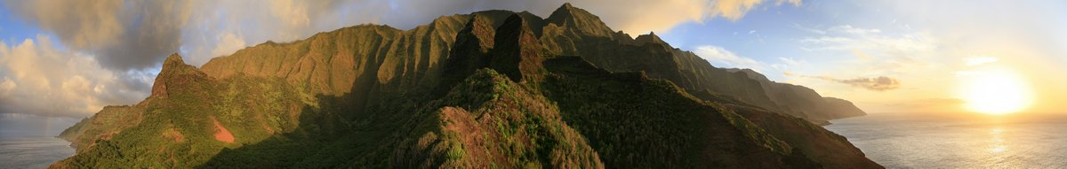 Na Pali, coast, panorama, 180 degree, sunset, coastline, cliffs, photo