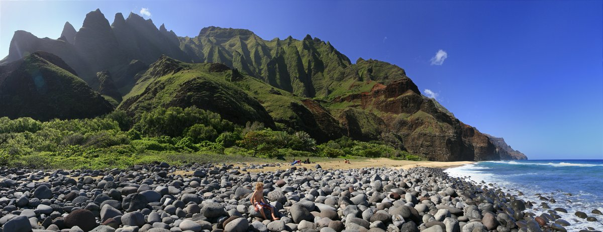 Na Pali, coast, beach, Kalalau Beach, photo