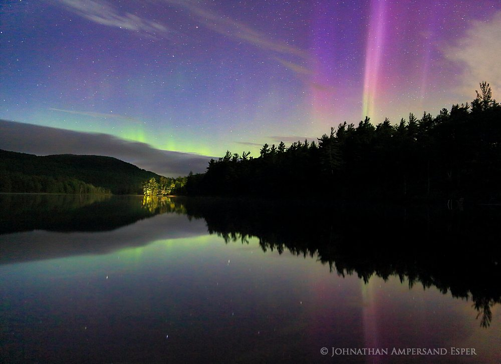 Newberry Pond,Aurora Borealis,Newberry Pond aurora borealis,Northern Lights,night,Adirondack Park,Adirondacks,reflection,pond,stars,, photo