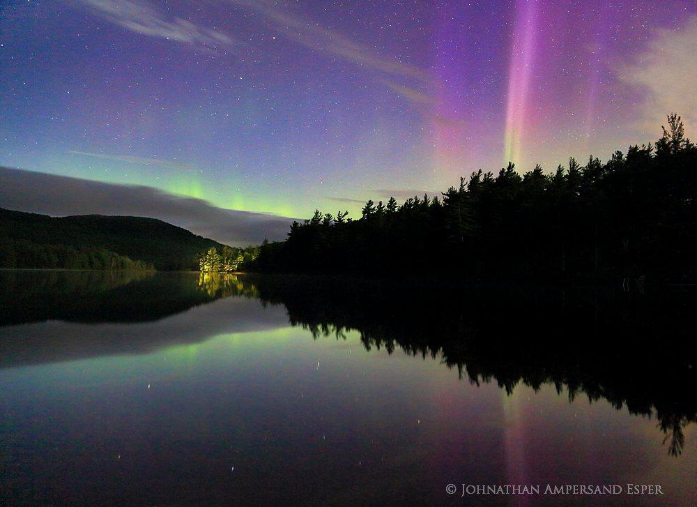 Newberry Pond,Aurora Borealis,Newberry Pond aurora borealis,Northern Lights,night,Adirondack Park,Adirondacks,reflection,pond,stars,, photo