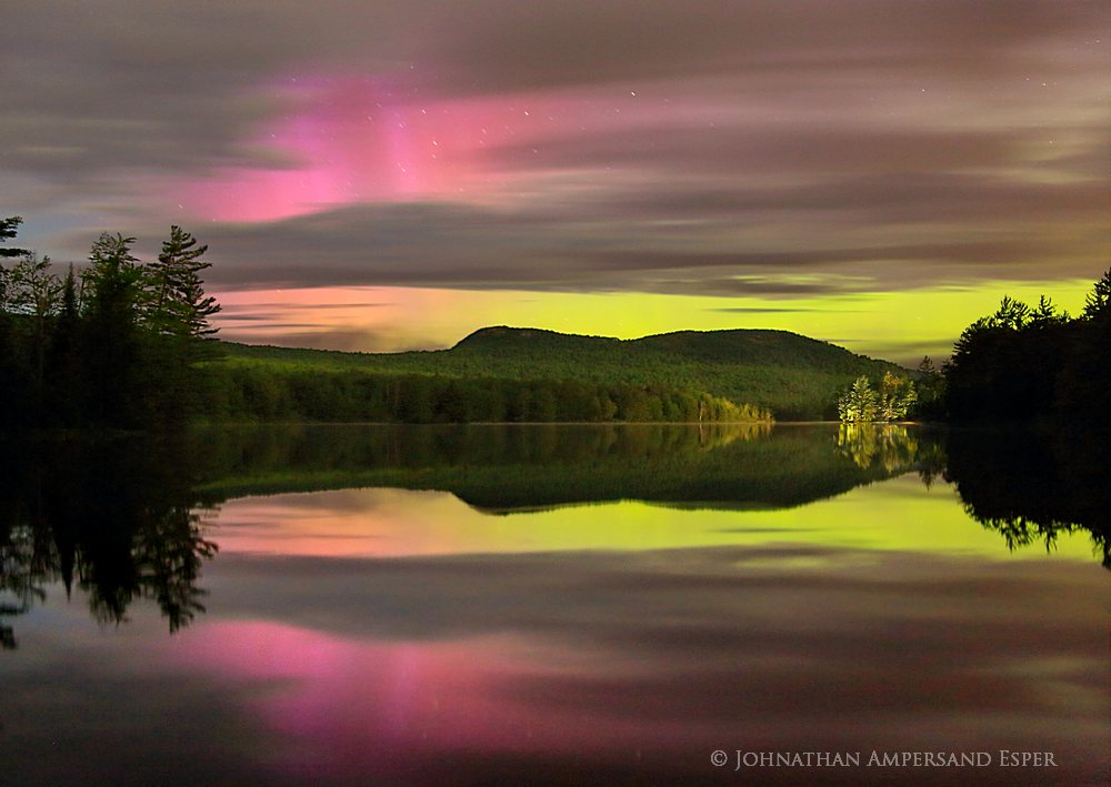 Newberry Pond, Aurora Borealis,Northern Lights,pink and yellow,night,austral,Adirondack Park,Adirondacks,Adirondack auro, photo