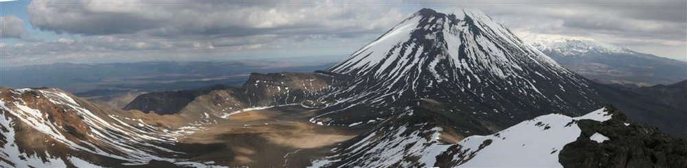 Mount Ngauruhoe, Tongariro National Park, Tongariro Crossing, panorama, Mt. Ruapehu, Mt. Tongariro, aerial, panorama, vi, photo