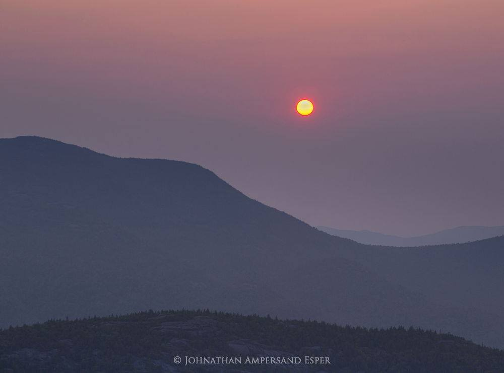 Noonmark Mt,Noonmark Mountain,sunrise,hazy,summer,hazy sunrise,disc,solar disc,Rocky Peak Ridge,Giant Mt,