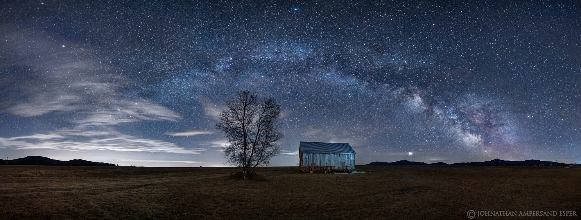 Norman Ridge,Norman Ridge Rd,Norman Ridge barn,old barn,barn,Vermontville,Milky Way,night,stars,night photography,180 degree panorama,panorama,2020,March,winter,Whiteface Mt,Whiteface,, photo