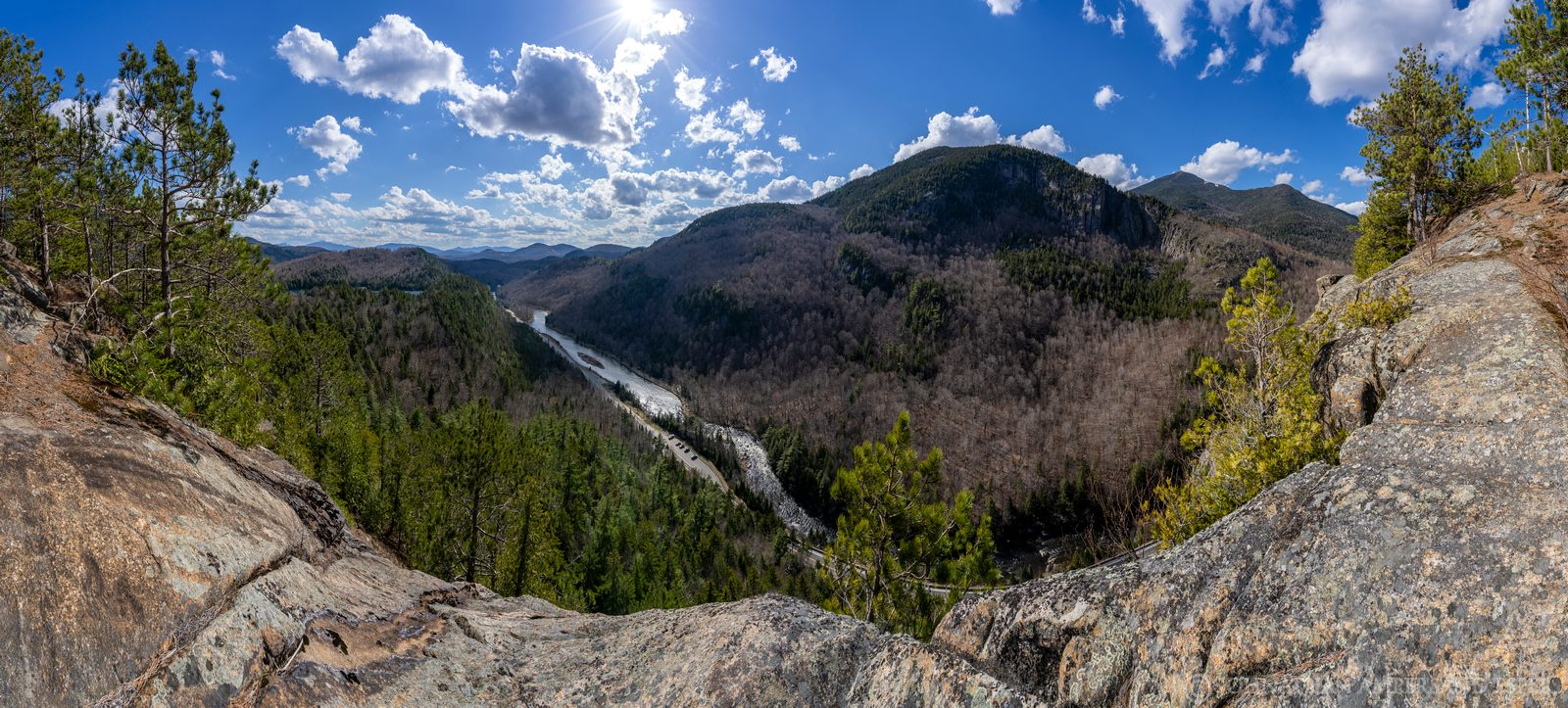 Notch Mountain,Notch Mt,Wilmington Notch,sunny,spring,day,cliffs,bushwack,Ausable River,panorama,Whiteface Mt,Whiteface Mountain...