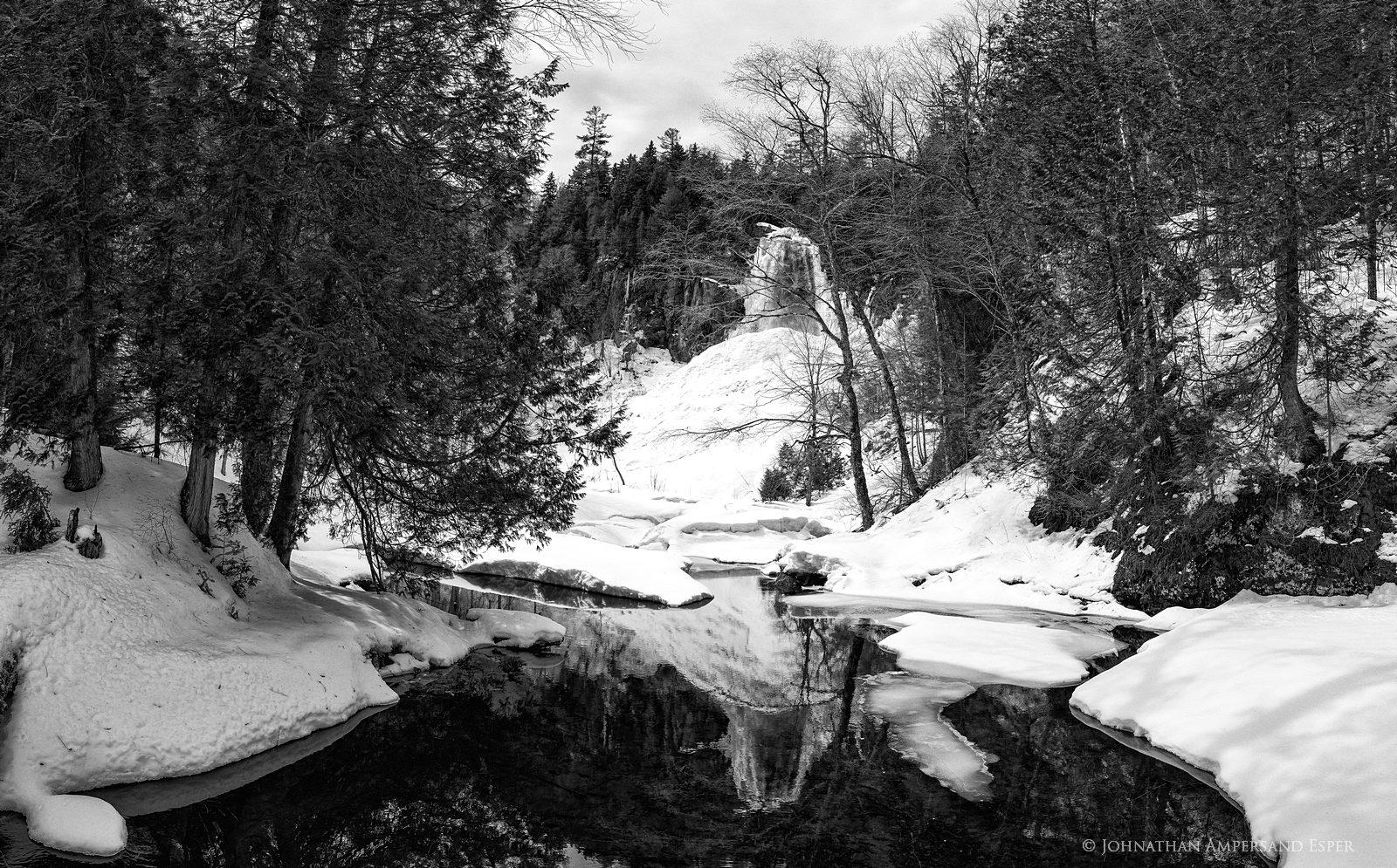 black and white,OK Slip Falls,OK Slip,Ok Slip falls,reflection,canyon,Hudson River Gorge,spring,April,2017, photo