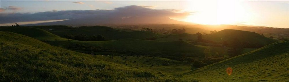 Mt. Taranaki, Taranaki region, sunset, pastures, green, photo