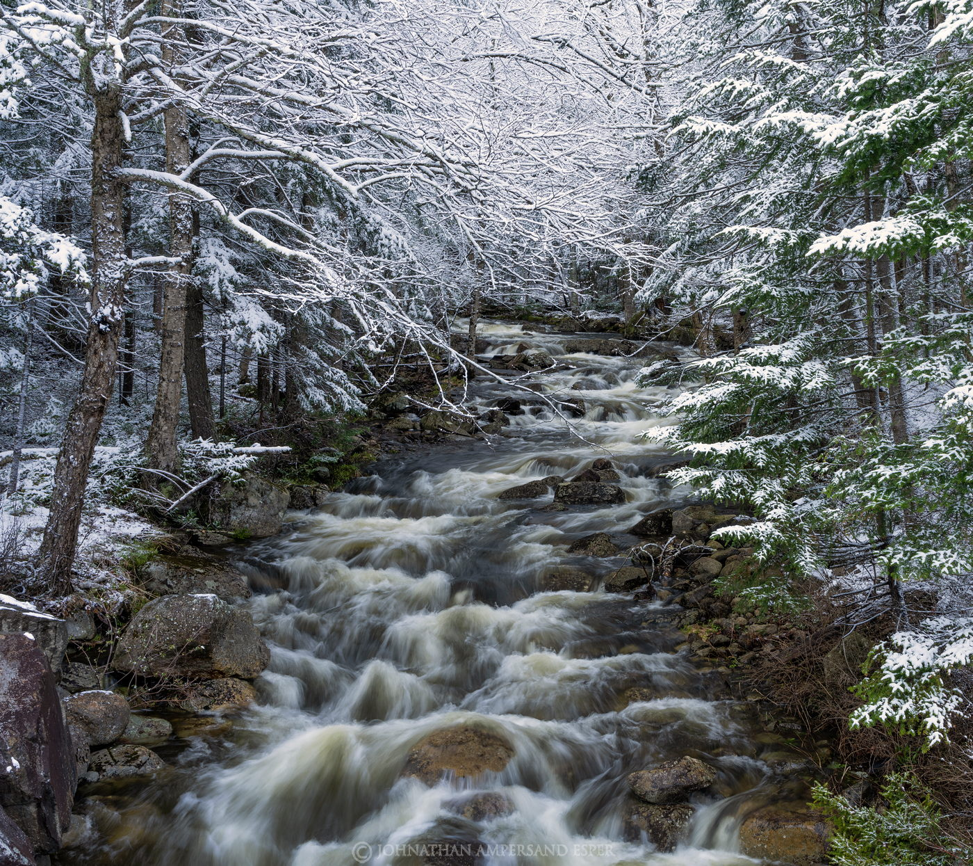 Owen Pond outlet,stream,brook,Wilmington Notch,spring snow,snowfall,snow,white,2021