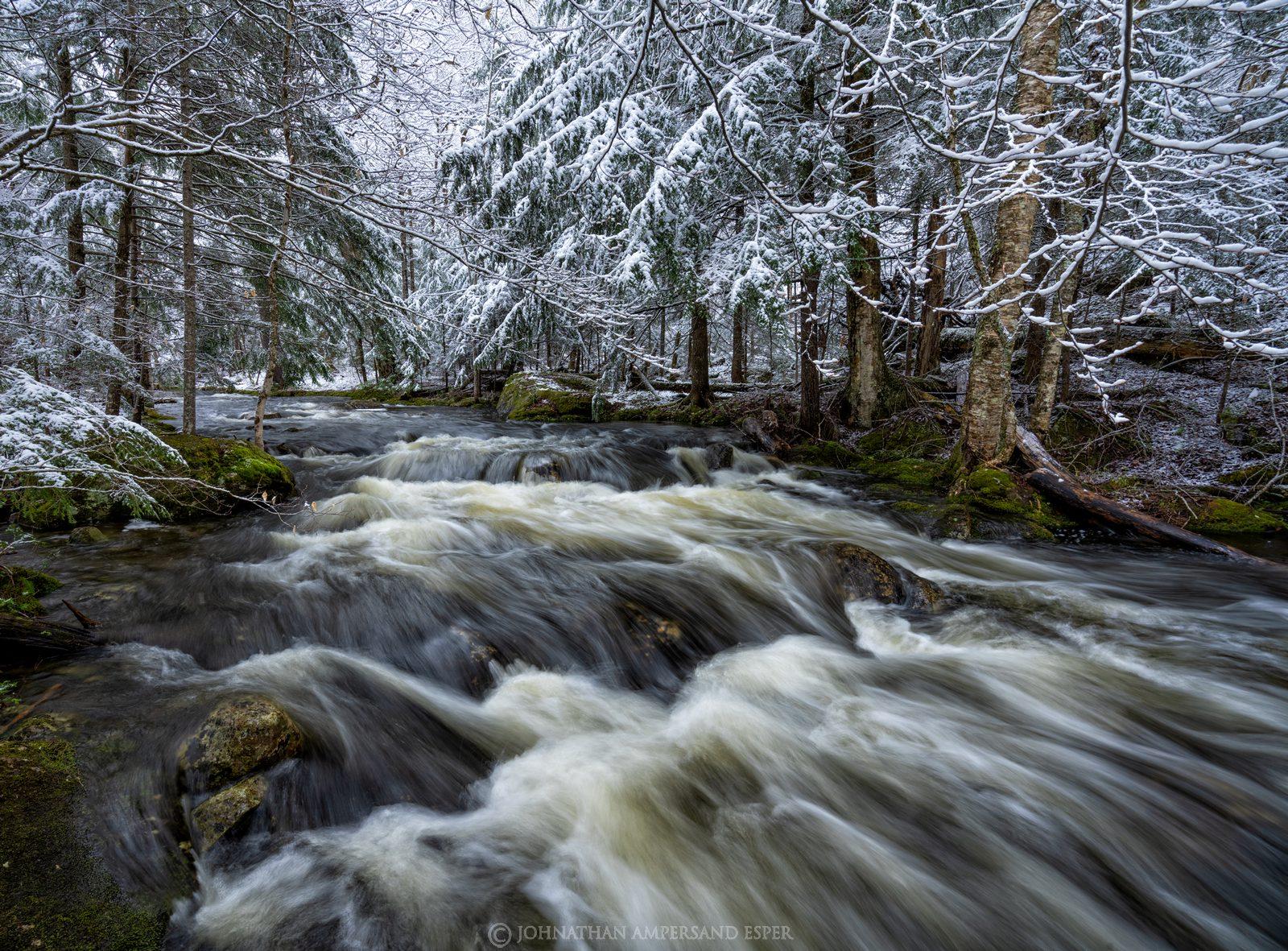 Owens Pond,Owens Pond outlet,stream,snow,spring snowfall,spring,snowfall,Wilmington Notch,May,2021,