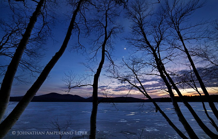 Venus,Jupiter,alignment,conjunction,evening,night,sky,stars,Lake Eaton,birches,sillouette,Owl's Head Mt,planets,spring,i, photo