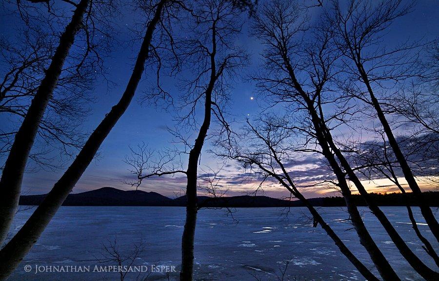 Venus,Jupiter,alignment,conjunction,evening,night,sky,stars,Lake Eaton,birches,sillouette,Owl's Head Mt,planets,spring,i, photo