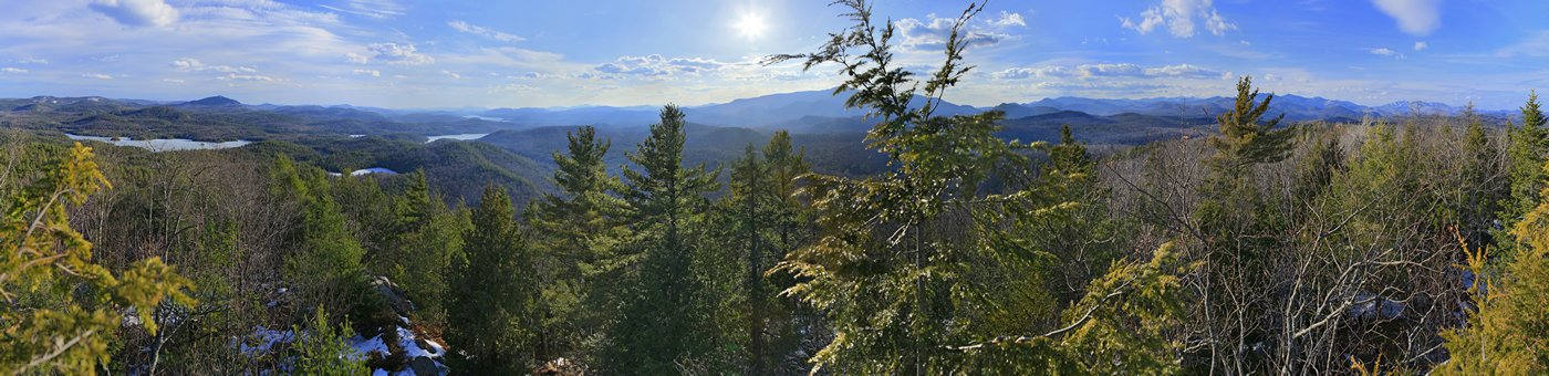 Paradox Lake,Schroon Lake,treetop,panorama,Peaked Hill,springtime, photo