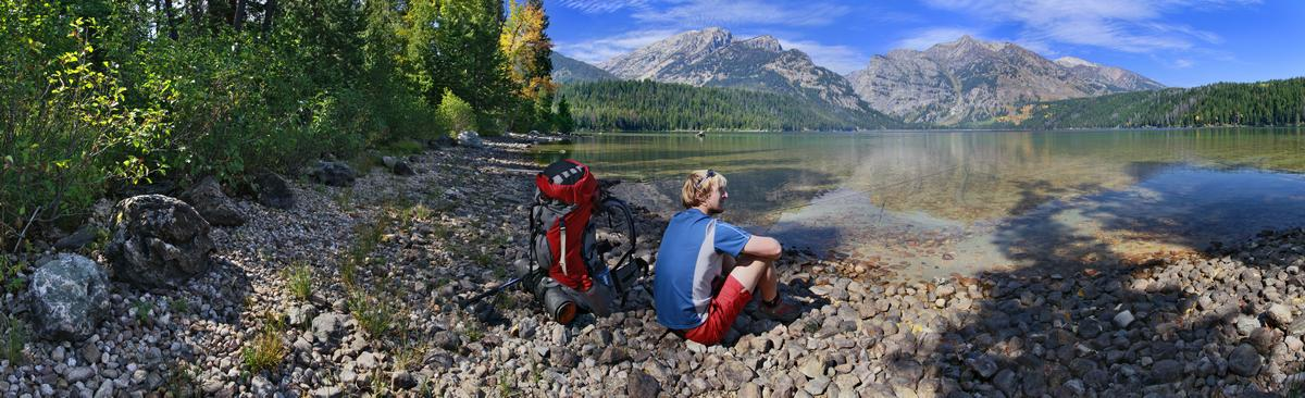Phelps Lake,shady,shoreline,view,resting,backpacker,hiker,rocky,shore,lake,mountains,Tetons,Grand Teton National Park,Te, photo