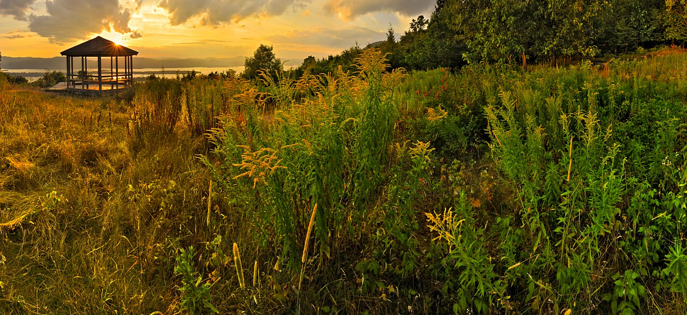 Chris Lischy,client,workshop,Adirondack,Pilot Knob Preserve,Pilot Knob,gazebo,sunset,summer,grasses,Lake George,, photo