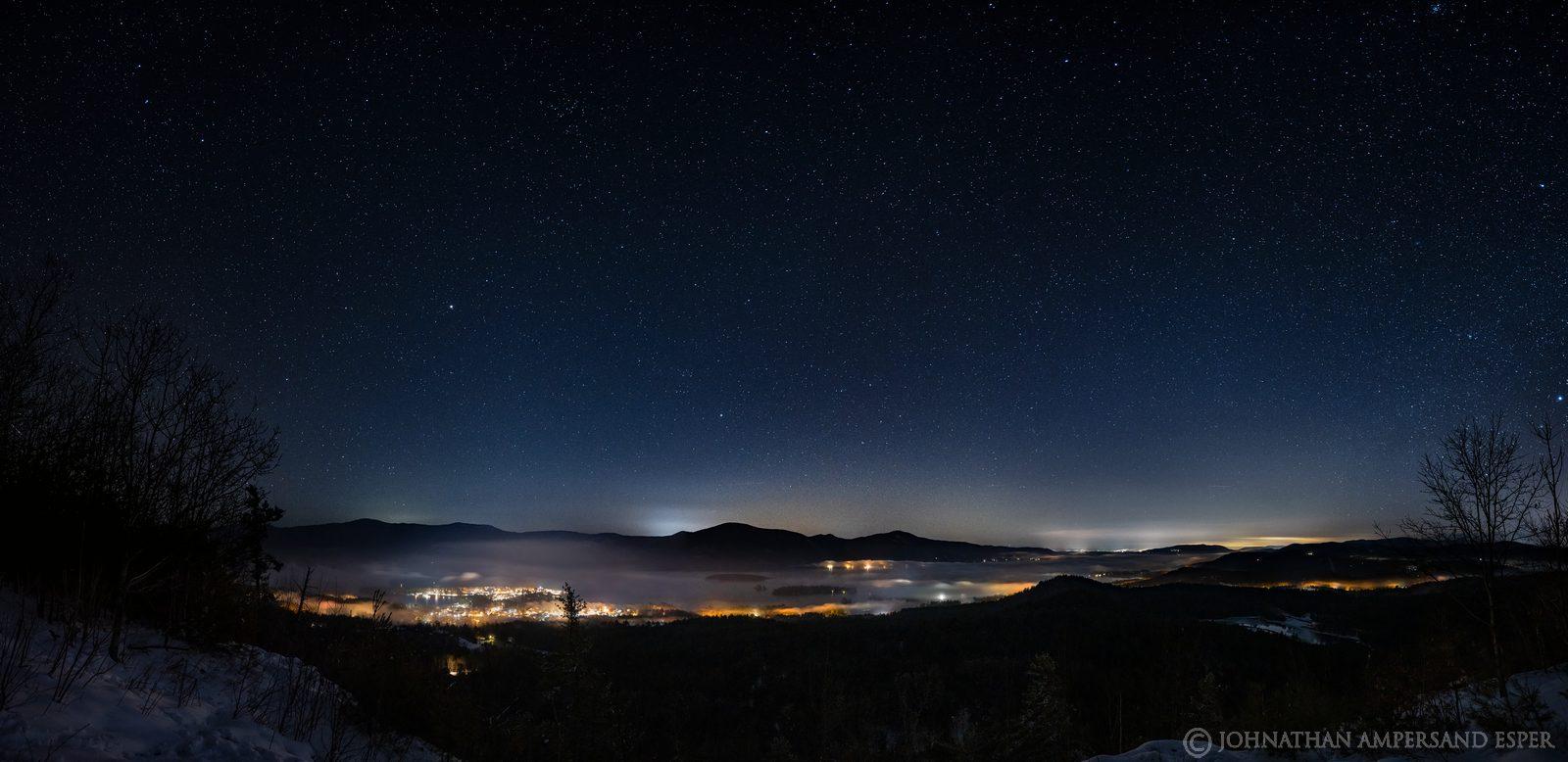 The Pinnacle,Bolton Landing,Lake George,Pinnacle,The Pinnacle over Lake George,night,stars,sky,fog,lake,winter,2020,