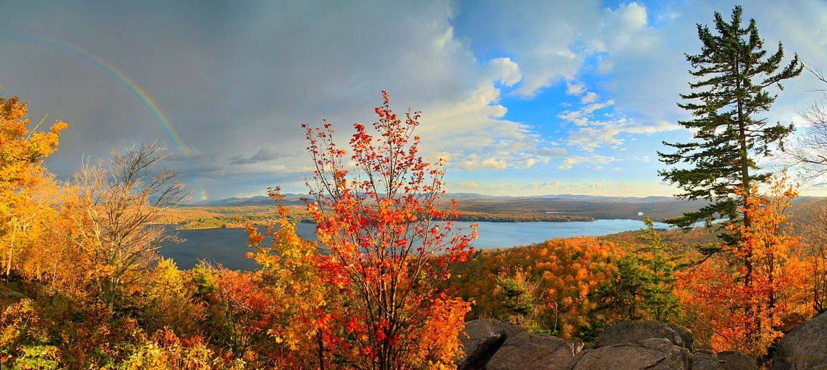 Piseco Lake,Piseco,Panther Mt,cliff,cliffs,rainbow,fall, photo
