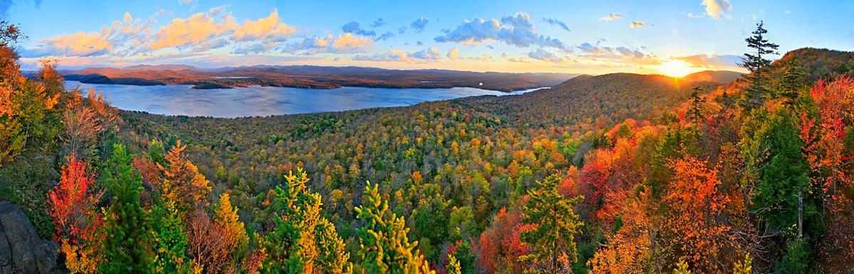 Piseco Lake,Panther Mt,cliff,sunset,fall,treetop,panorama,Piseco,Adirondack,lake,, photo