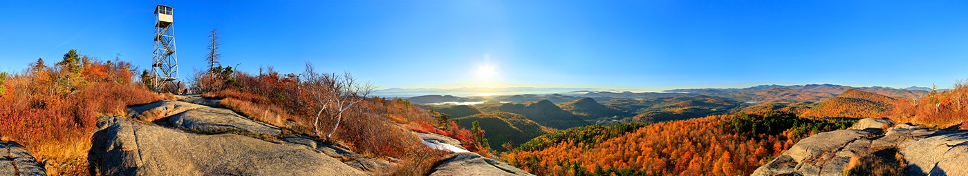 Pokomoonshine,mt,summit,firetower,360 degree,360,treetop,Lake Champlain,sunrise,autumn,, photo