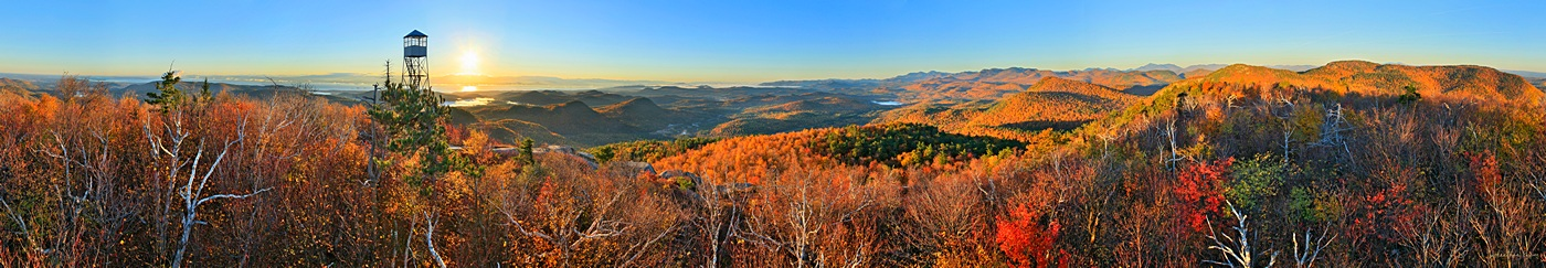 Pokomoonshine,mt,summit,firetower,360 degree,360,treetop,Lake Champlain,sunrise,autumn,, photo