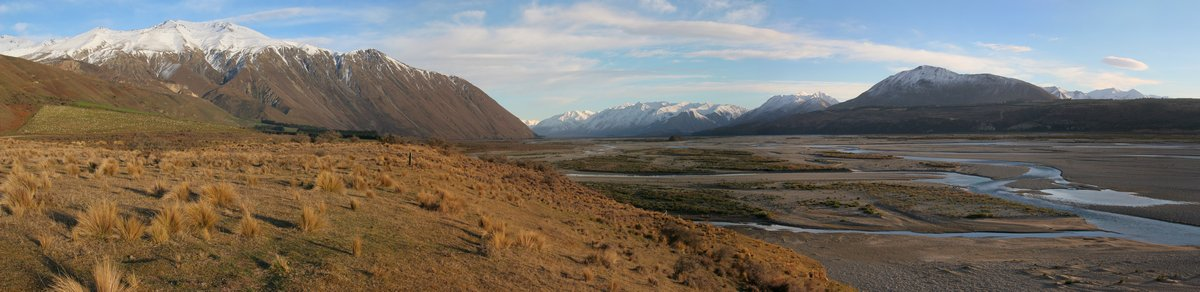 Rakia River, valley, braided river, river plain, sheep, pasture, Methven, New Zealand, Southern Alps, photo