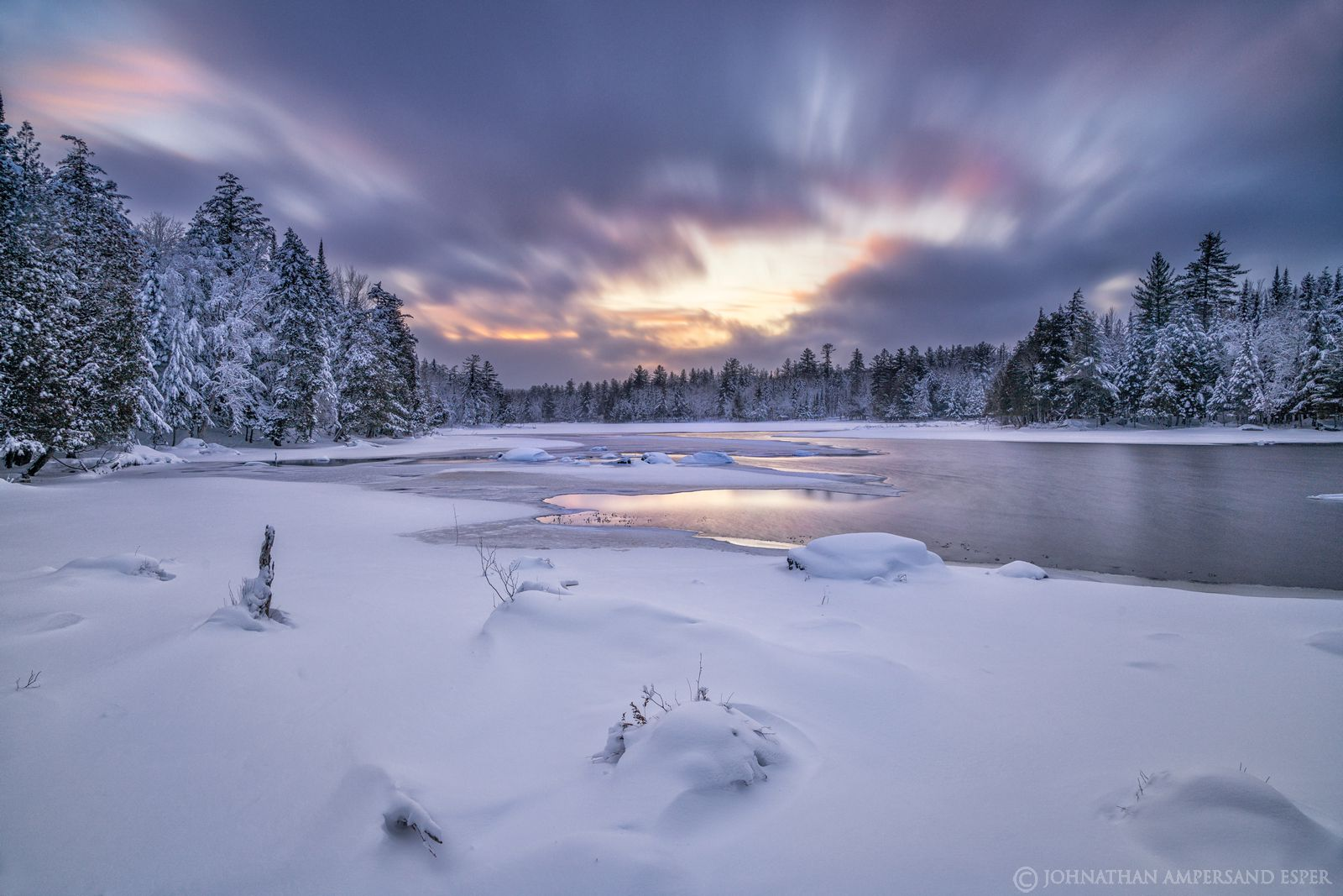 Raquette Lake,winter,Raquette Lake outlet,North Point Rd