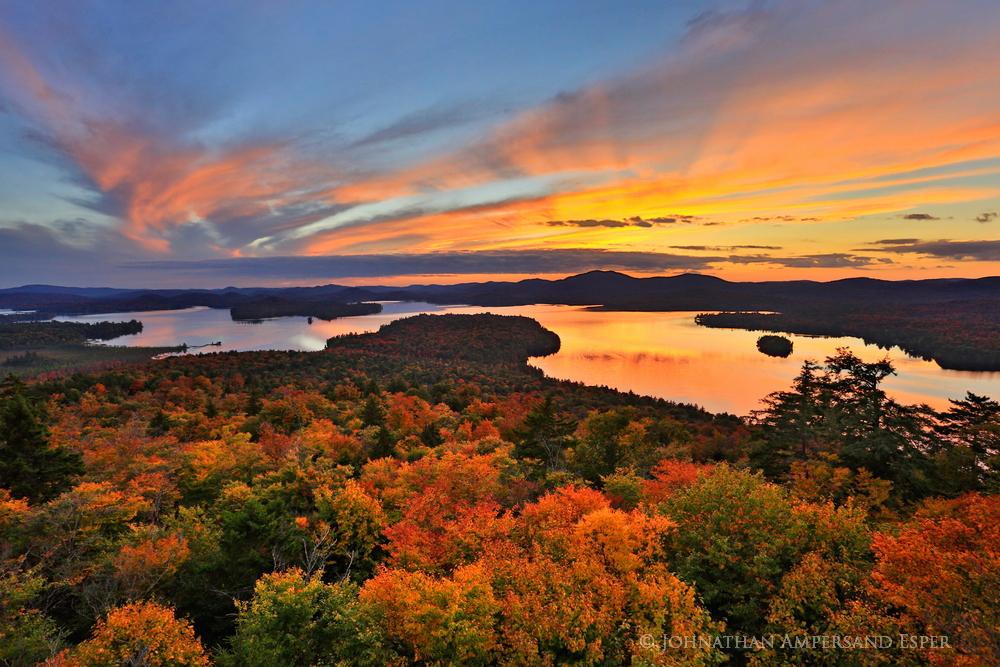Raquette Lake,treetop,sunset,autumn,2014,Adirondack Park,Adirondacks,lake,Adirondack,Adirondack Orange,fall,, photo
