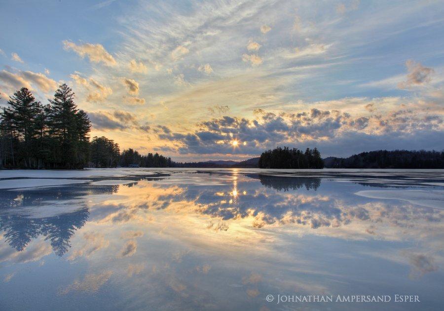 Raquette Lake,ice,spring,springtime,melting,meltpools,reflection,sunset,Johnathan Esper, photo