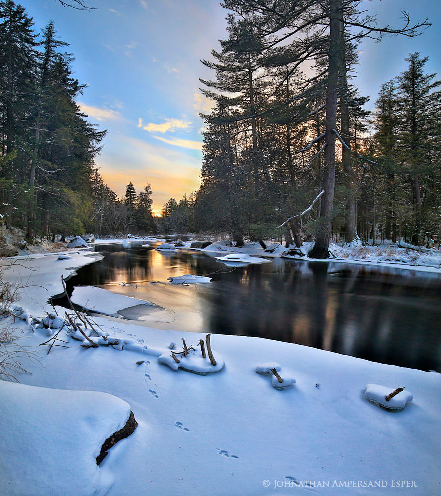 Raquette River,winter,river,Adirondack,2016,Johnathan Esper,hemlock forest,forest,hemlocks,North Point Rd,, photo