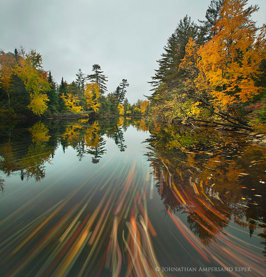 Raquette River, streaming leaves,leaves,autumn,2012,Tupper Lake,long exposure, photo