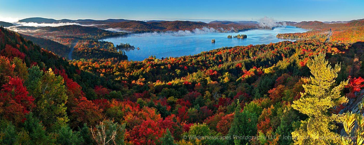 Fourth Lake,Inlet,Inlet NY,autumn,Rocky Mt,Fourth Lake Rocky Mt,sunrise,fog,Adirondack Park,lakes,Adirondack,Treetop,pan, photo