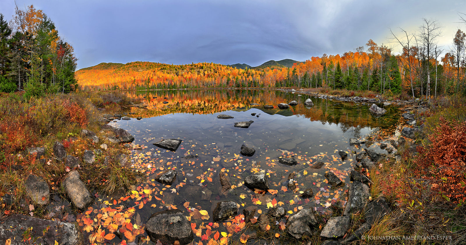 Round Pond,autumn,sunrise,light,Giant Mt,shoreline,reflection,trees,Dix Wilderness,panorama