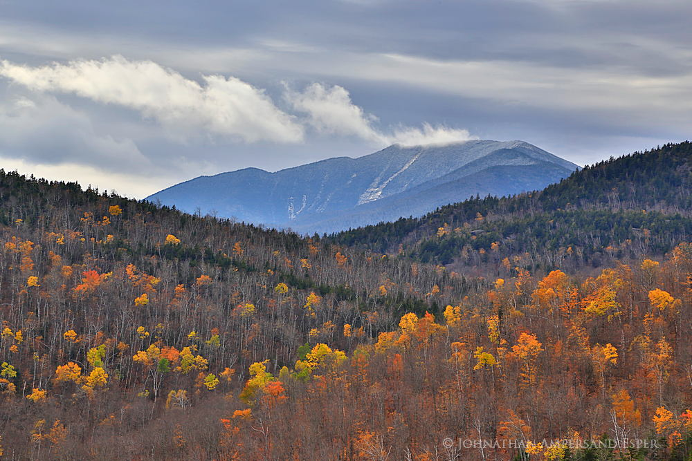 Round Pond,Dix Mt,Dix Mountain,ledges,Round Pond ledges,fall,telephoto,yellow,birches,aspens,autumn snowfall,, photo