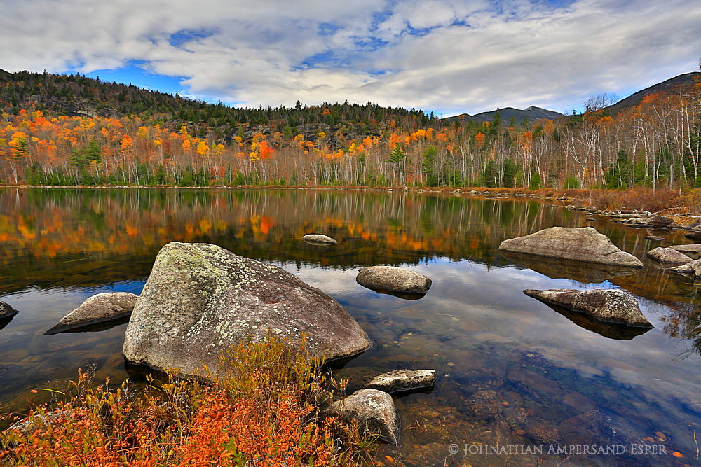 Round Pond,Giant Mt,Giant and Rocky mountains,boulders,reflection,birch,birches,birch reflection,fall,2014,Round Pond bo, photo