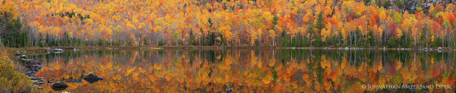 Round Pond,panorama,autumn,fall,treeline,shoreline,reflection,trees,, photo