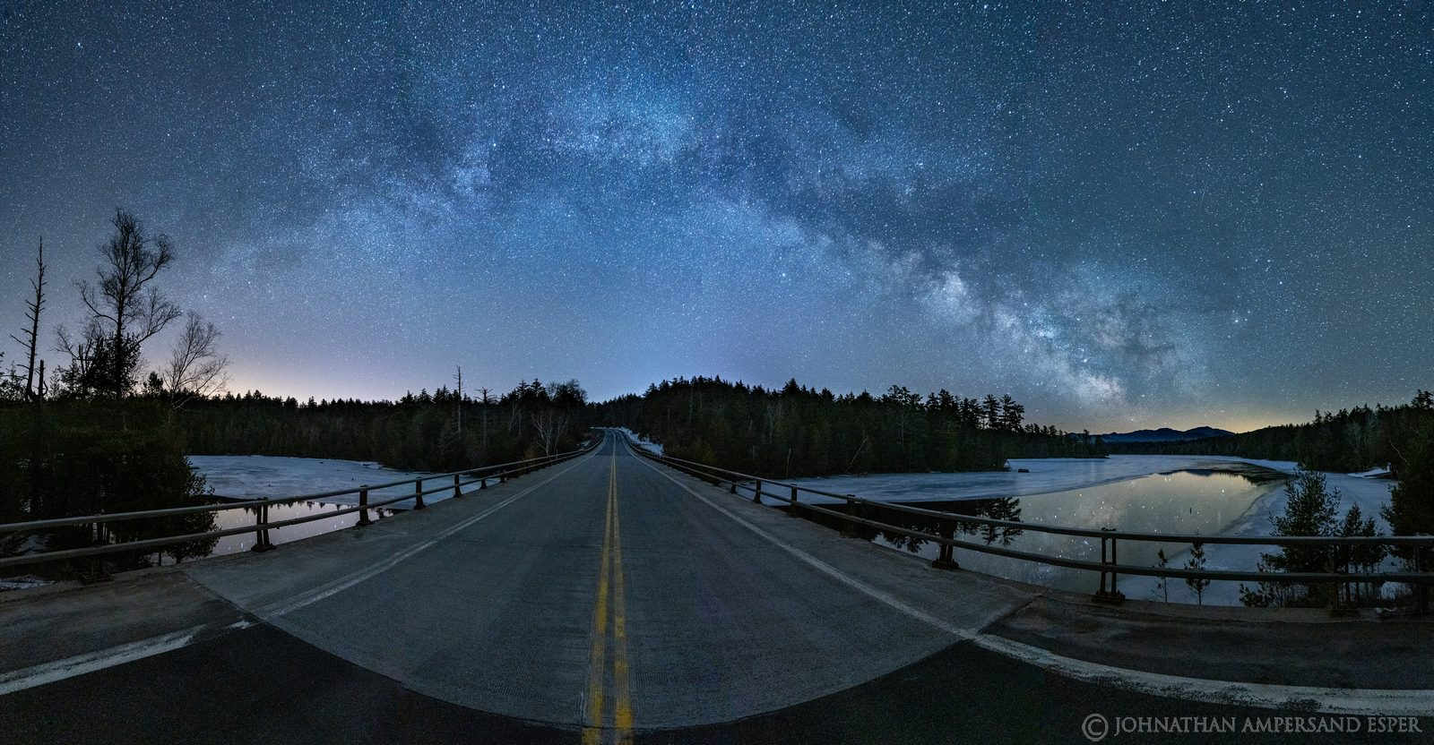 Milky Way,March,2021,Second Pond,ice,night,road,Route 3,bridge,panorama