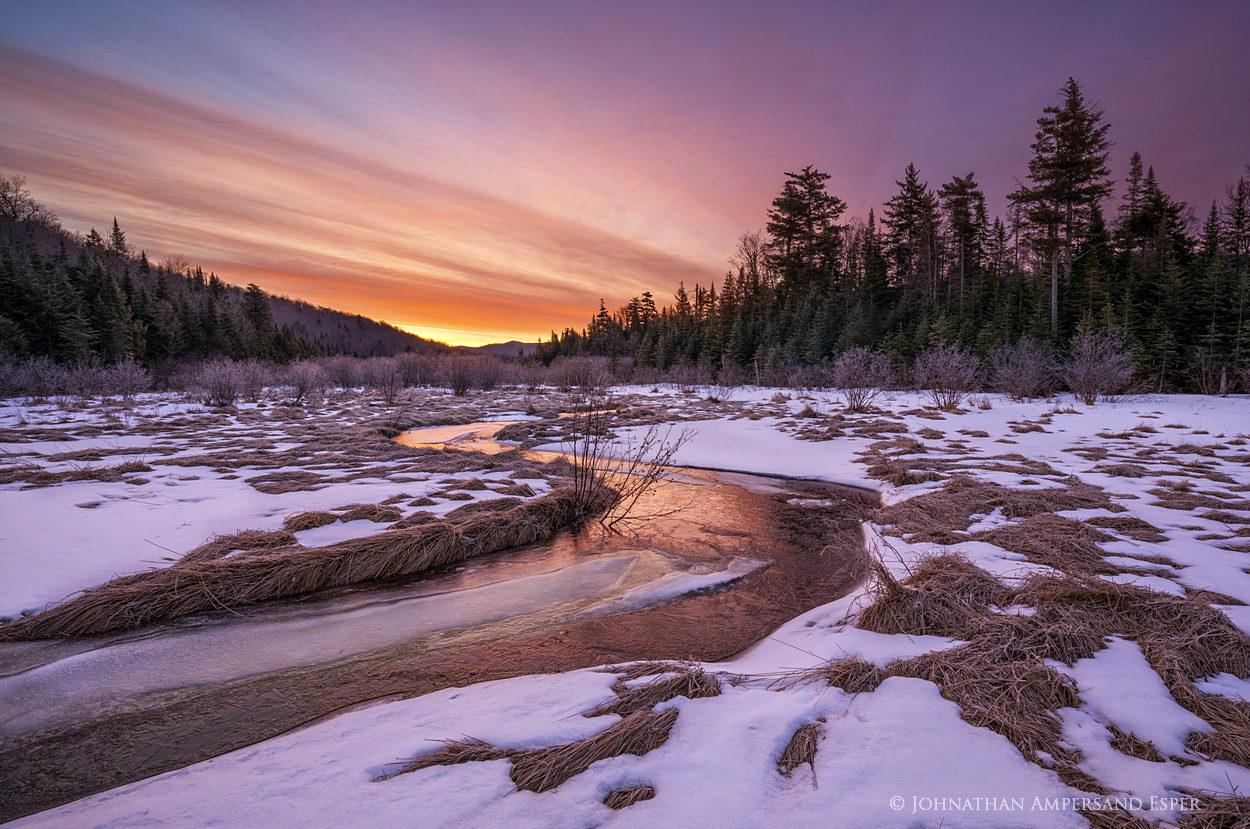 South Pond tributary,South Pond,Blue Mountain,stream,brook,April,springtime,sunrise,, photo