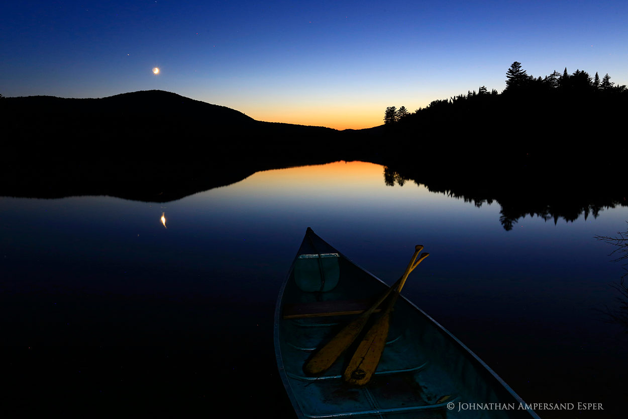 Santanoni Lake,Lake Santanoni,Santanoni,twilight,canoe,paddles,moon,night,, photo